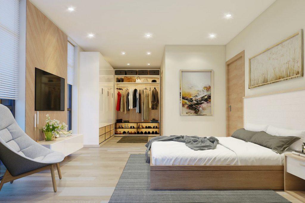 Phòng ngủ gỗ công nghiệp mang phong cách Hàn Quốc