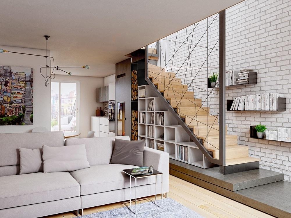Thiết kế mẫu phòng khách đẹp có cầu thang như thế nào?