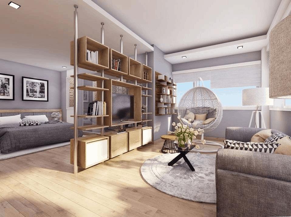 Trang trí nhà với vách ngăn phòng khách và phòng ngủ