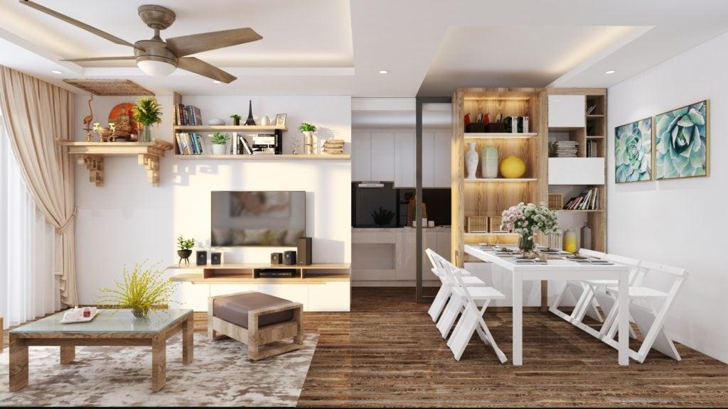 Kệ tivi với chất liệu gỗ MDF Thái Lan trong thiết kế nội thất nhà ở