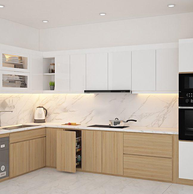 Chọn tủ bếp laminate hay acrylic? Ưu nhược điểm của từng loại
