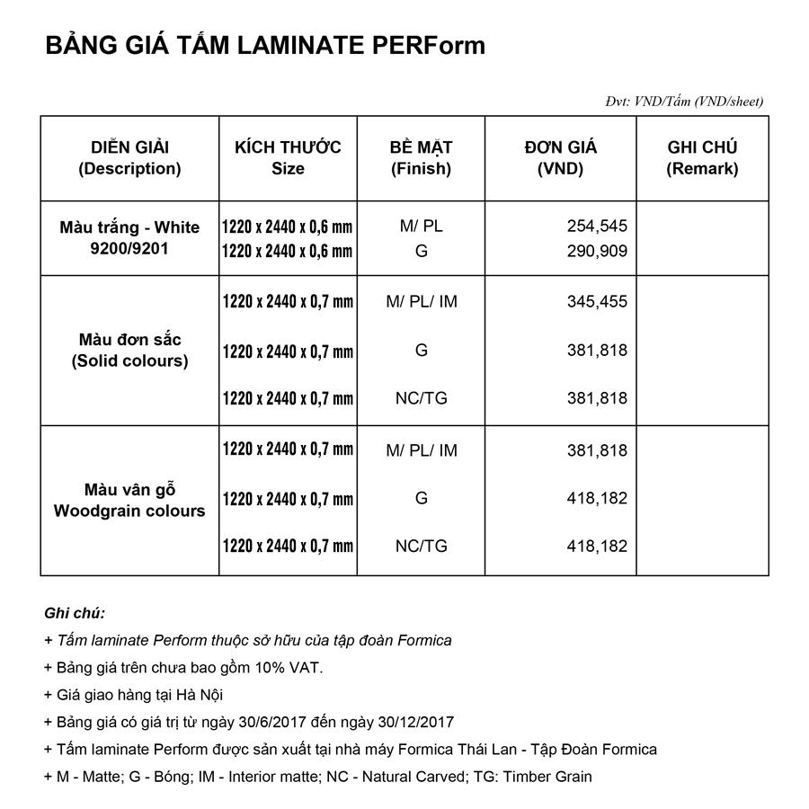 Bảng giá tấm laminate giá rẻ Perform